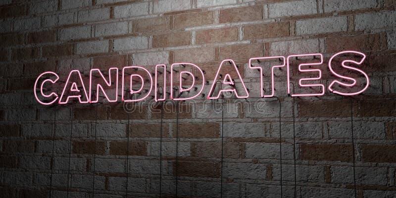 CANDIDATS - Enseigne au néon rougeoyant sur le mur de maçonnerie - 3D a rendu l'illustration courante gratuite de redevance illustration libre de droits