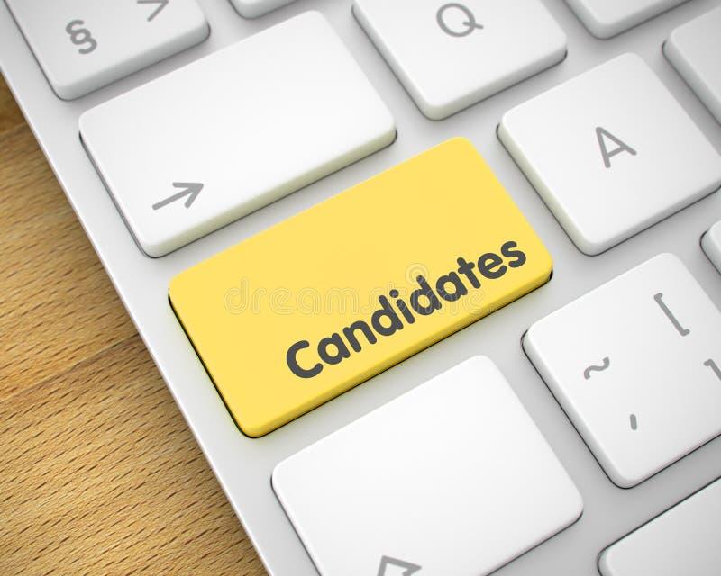 Candidats - message sur le bouton jaune de clavier 3d illustration stock