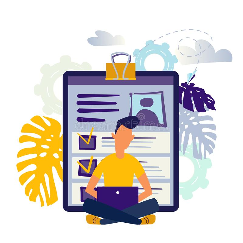 Candidats pour les vacances d'emploi, examen des résumés illustration de vecteur