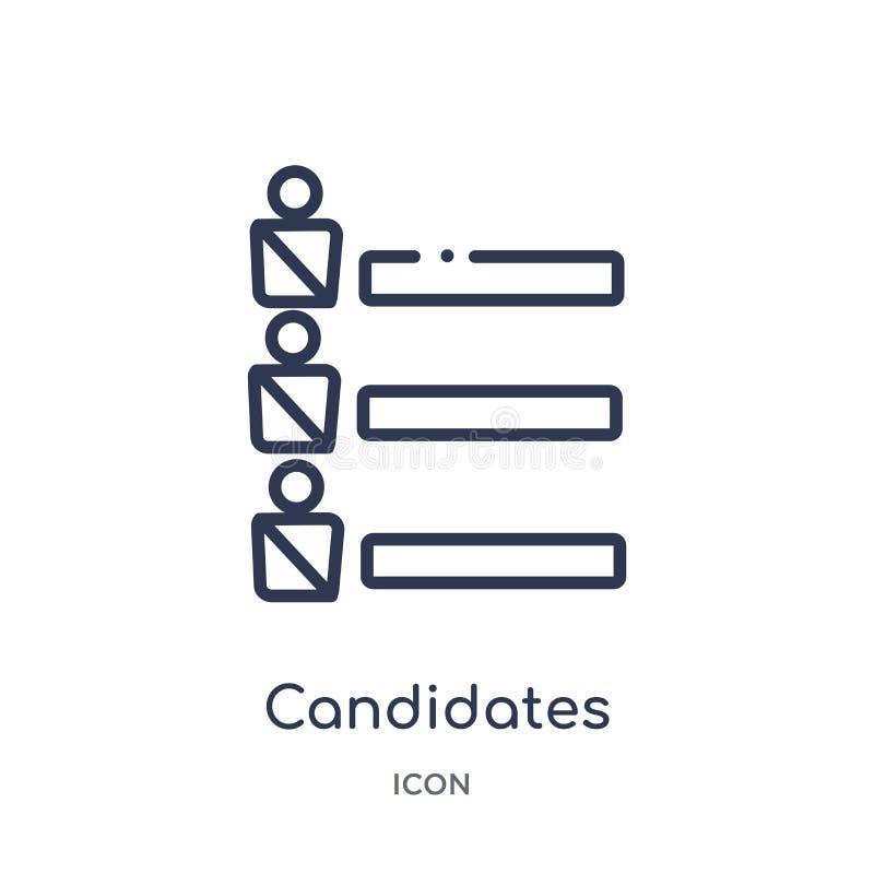 candidats rangeant l'icône graphique de la collection politique d'ensemble Ligne mince candidats rangeant l'icône graphique d'iso illustration libre de droits