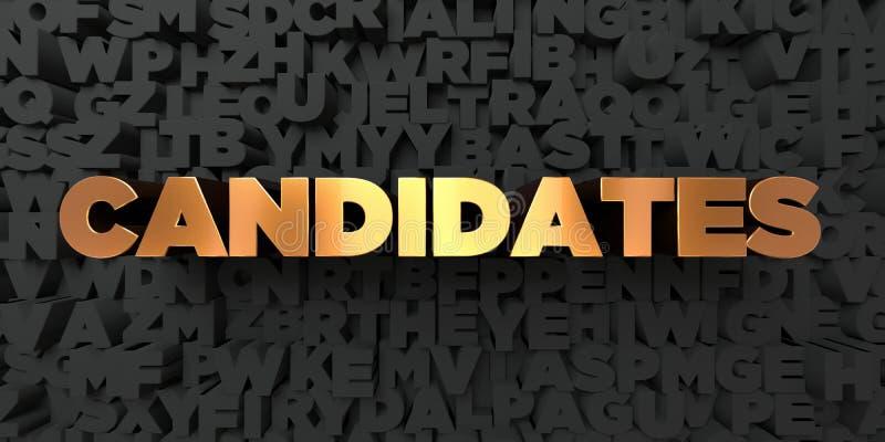 Candidats - texte d'or sur le fond noir - photo courante gratuite de redevance rendue par 3D illustration libre de droits