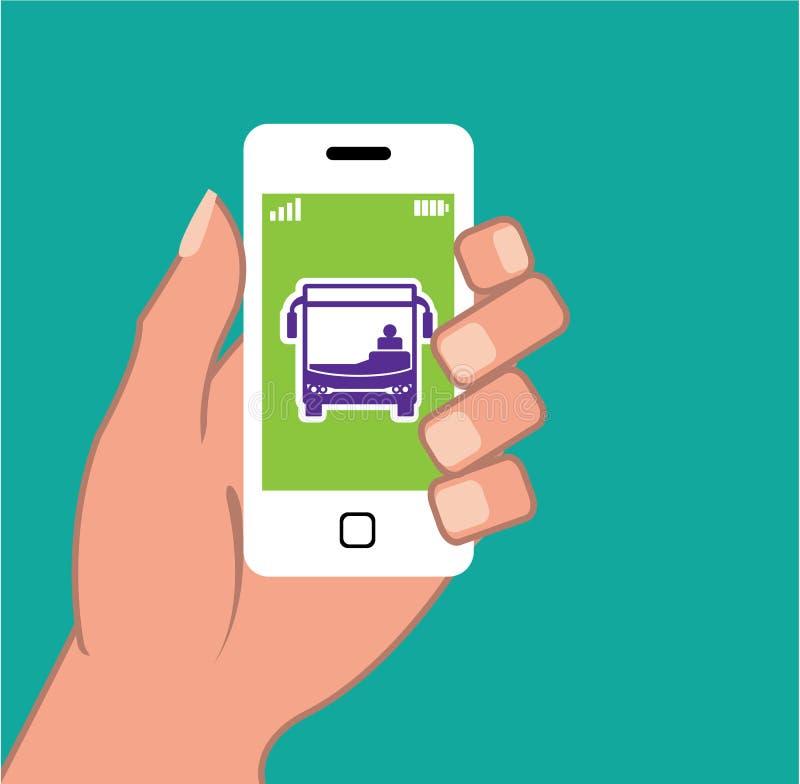 Candidatura online de serviço de ônibus da aplicação do vetor de Smartphone ilustração royalty free