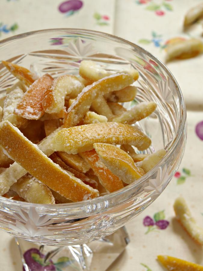 Candied orange peel. Traditional, old Croatian dessert. Orange peel cooked in sugar syrup stock photo