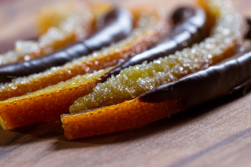 Candied orange peel royaltyfri bild