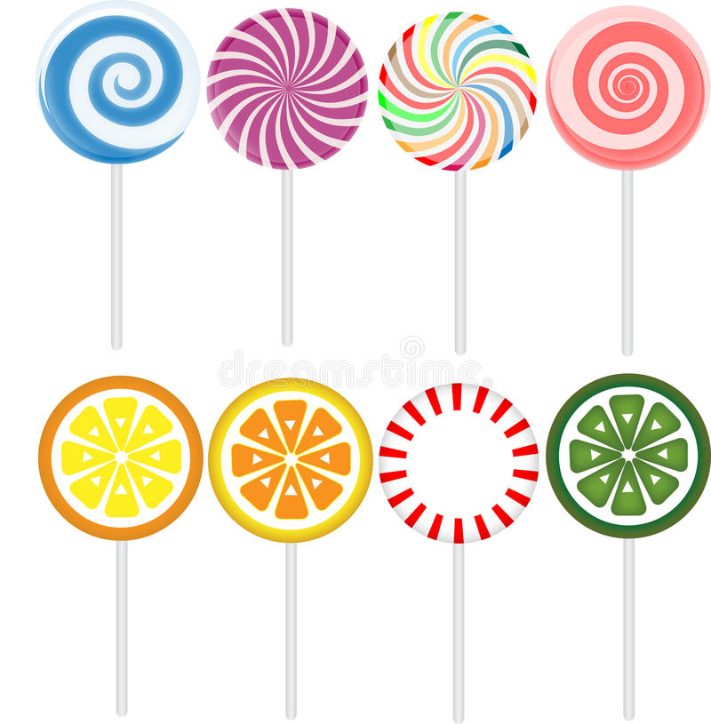 Candies. Eight different candies isolated on the white background stock illustration