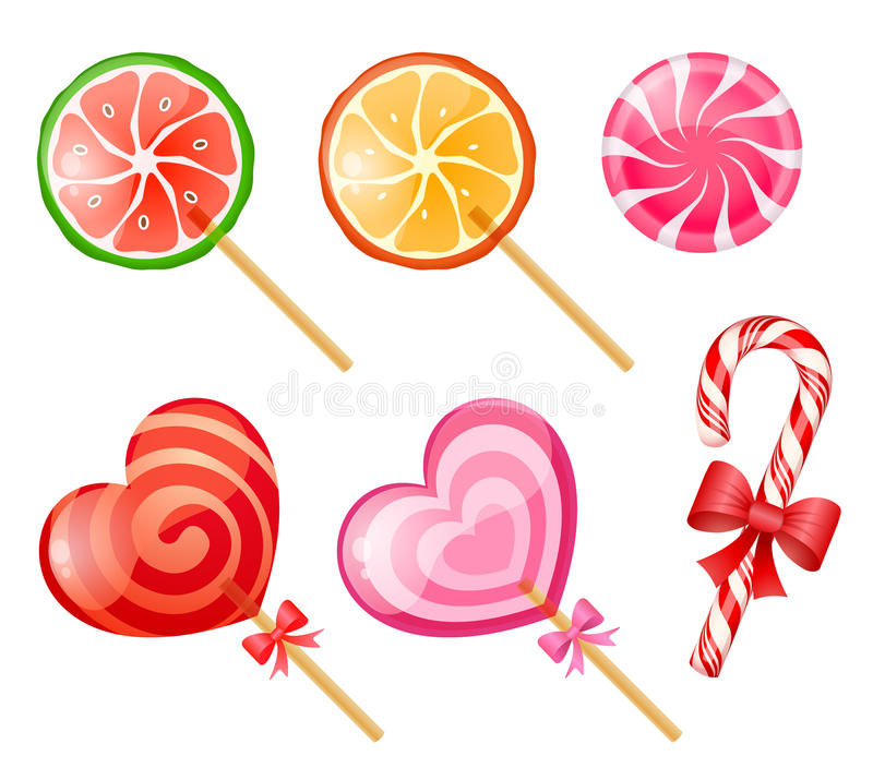 Candies. Mix of six colorful candies stock illustration