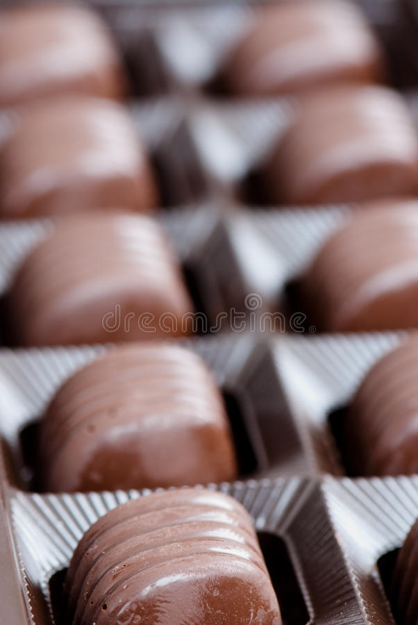 Candies. Chocolate candies in the box stock images