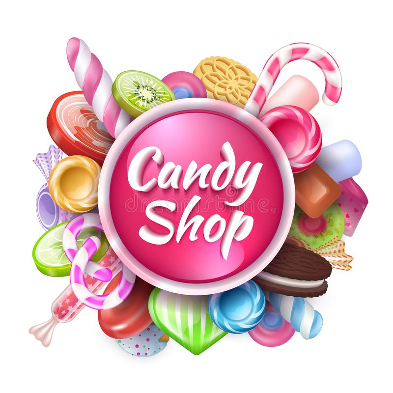 Candies background. Realistic sweets and desserts frame with text, colorful toffees lollipops and caramel bonbon. Vector royalty free illustration
