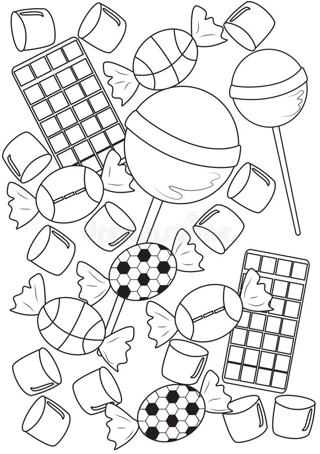 Candies coloring page. Useful as coloring book for kids royalty free illustration