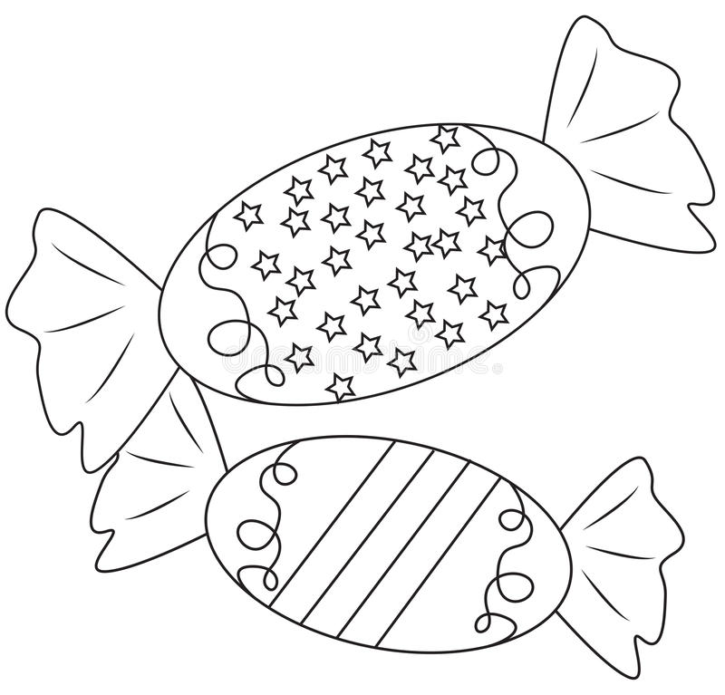 Candies coloring page. Useful as coloring book for kids stock illustration