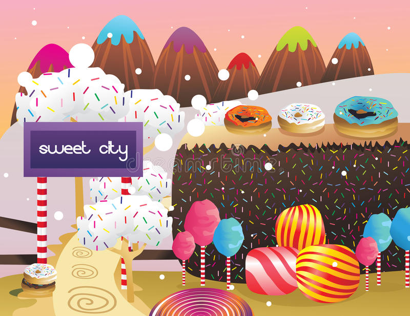 Download Candies And Donuts Landscape Stock Vector - Image: 19610956