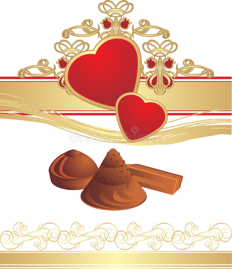 Candies and hearts on the gothic ornament royalty free illustration