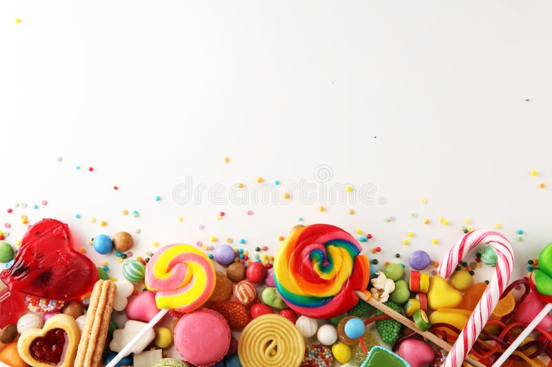 candies with jelly and sugar. colorful array of different childs sweets and treats. royalty free stock images
