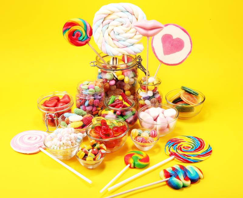 Candies with jelly and sugar. colorful array of different childs sweets and treats stock photo