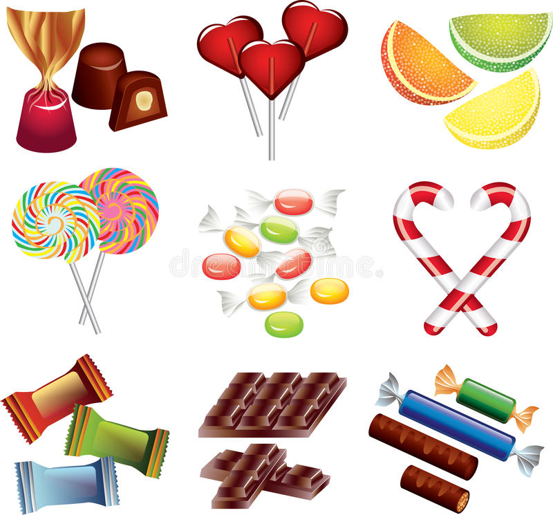Candies photo-realistic set. Candies photo-realistic detailed set stock illustration
