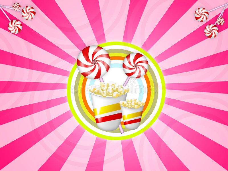 Candies and popcorn. Illustration of candies with red stripes and popcor vector illustration