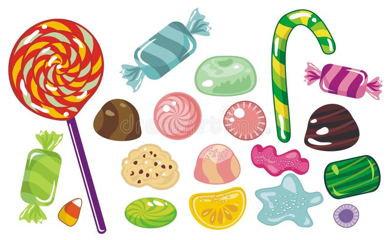 Candies Set. Various colorful sweets and candies vector illustration