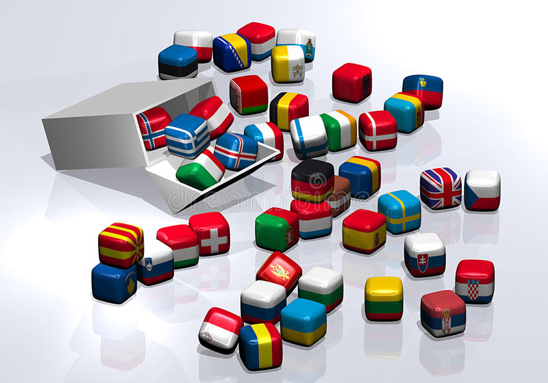 Candies in the shape of the flag out of a box vector illustration