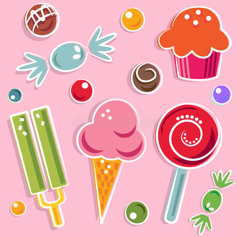 Candies and sweet. Vector set of candies and sweet vector illustration