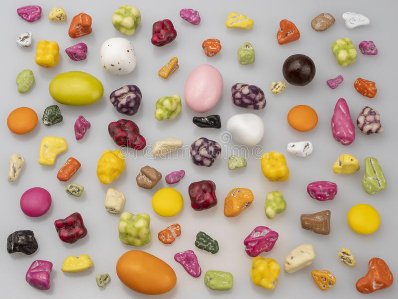 Candies. Sweet food. Caramel stones, sea pebbles. stock image