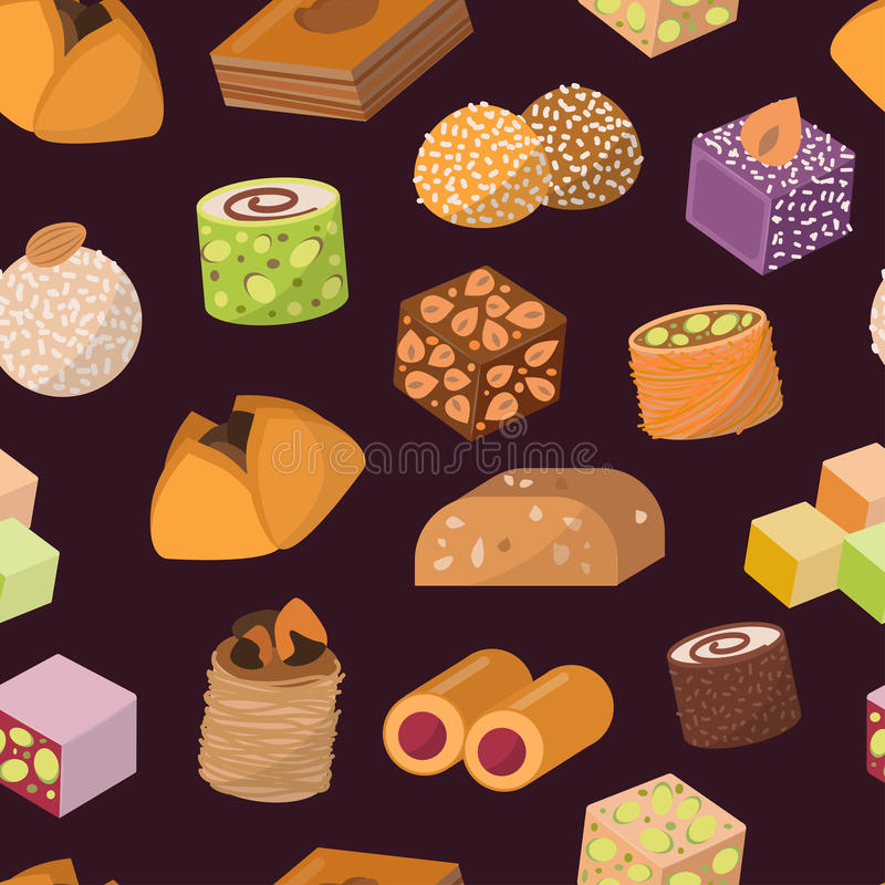 Candies sweets dessert from East isolated food vector seamless pattern stock illustration