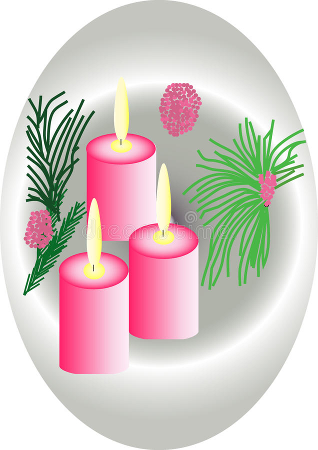 Download Candle stock illustration. Image of green, drawing, pink - 24911842