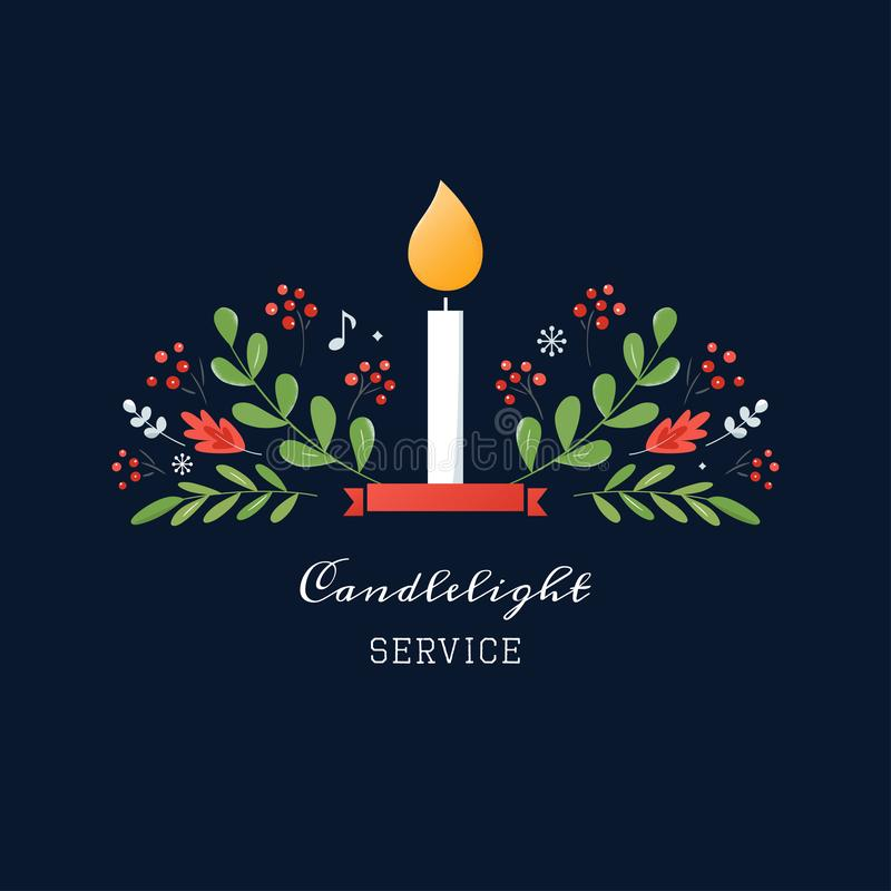 Free Candle And Ornaments Christmas Eve Candlelight Service Invitation. Vector Design Royalty Free Stock Image - 165190876