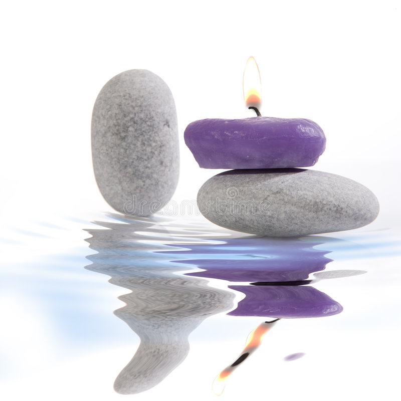 Free Candle And River Stones Royalty Free Stock Images - 7128699