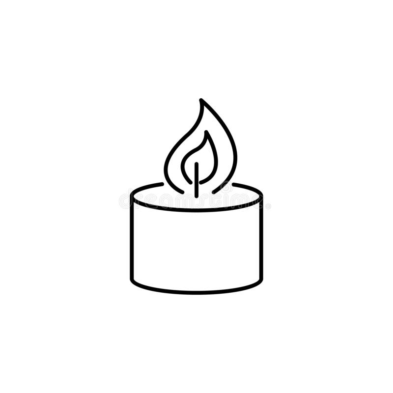 Candle burning flame outline icon. Signs and symbols can be used for web, logo, mobile app, UI, UX vector illustration