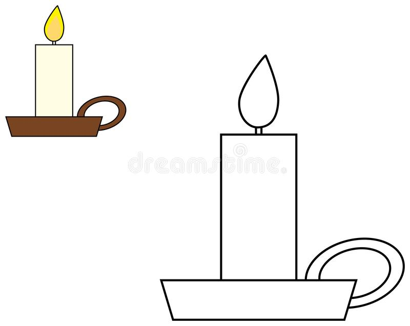 Candle in candlestick clipart. Coloring book for children. Vector illustration. Candle in candlestick clipart. Coloring book page for children. Vector vector illustration