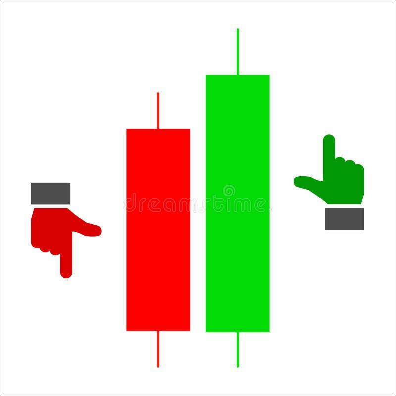 Candle a carta de troca do gráfico da vara para analisar o comércio no para ilustração do vetor