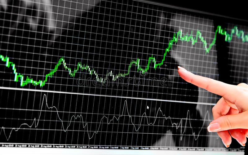Candle charts and trading explanation with finger show stock photo