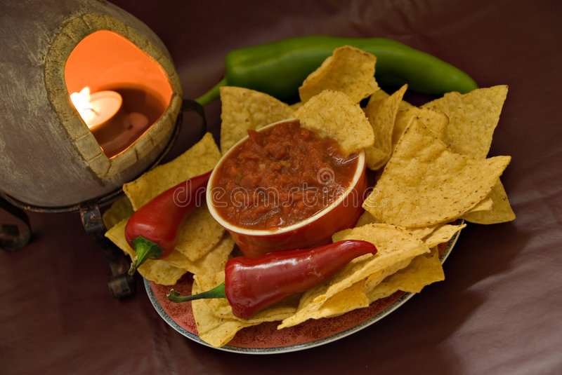 Download Candle, Chips And Salsa Royalty Free Stock Photography - Image: 3301537