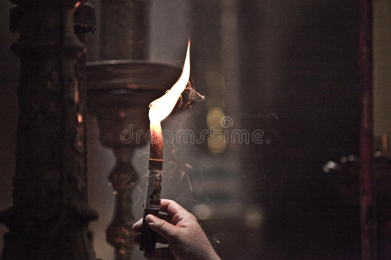Candle at Church of the Holy Sepulchre of the Old City of Jerusalem. Israel stock photo