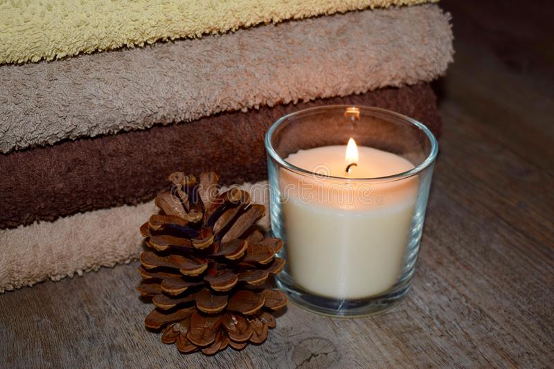Decoration, candle with cone royalty free stock images