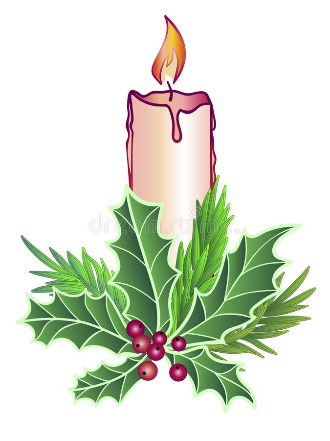 Candle with decor. Christmas burning, wax candle decorated with evergreens - spruce, holly, rosemary. Fragrant festive, traditiona royalty free illustration