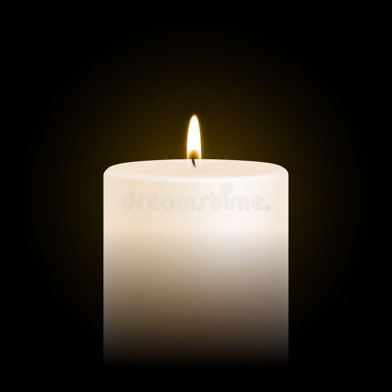 Candle do ícone realístico claro do vetor 3D do tealight ou do chá fogo ardente da chama ilustração stock