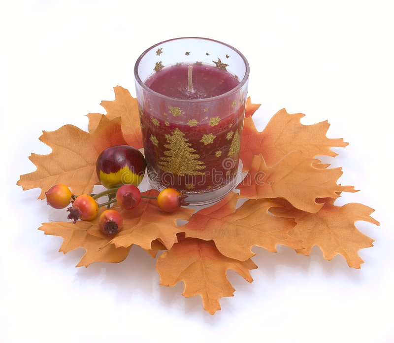 Download Candle In An Environment Of Autumn Leaves Stock Photo - Image: 7009890