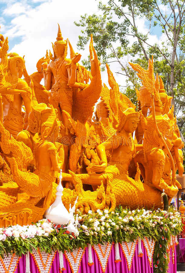 Candle Festival Ubon Thailand. UBON RATCHATHANI, THAILAND - July 12: The Candle are carved out of wax, Thai art form of wax(Ubon Candle Festival 2014) on July 12 stock images