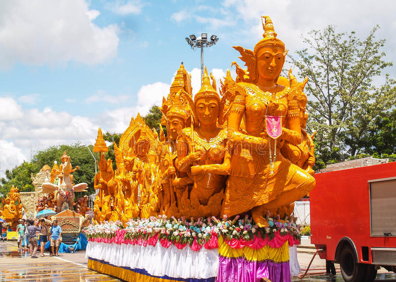 Candle Festival Ubon Thailand. UBON RATCHATHANI, THAILAND - July 12: The Candle are carved out of wax, Thai art form of wax(Ubon Candle Festival 2014) on July 12 royalty free stock photo