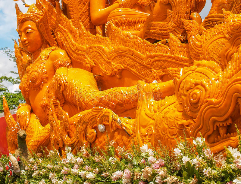 Candle Festival Ubon Thailand. UBON RATCHATHANI, THAILAND - July 12: The Candle are carved out of wax, Thai art form of wax(Ubon Candle Festival 2014) on July 12 royalty free stock image