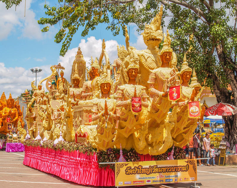 Candle Festival Ubon Thailand. UBON RATCHATHANI, THAILAND - July 12: The Candle are carved out of wax, Thai art form of wax(Ubon Candle Festival 2014) on July 12 royalty free stock photography