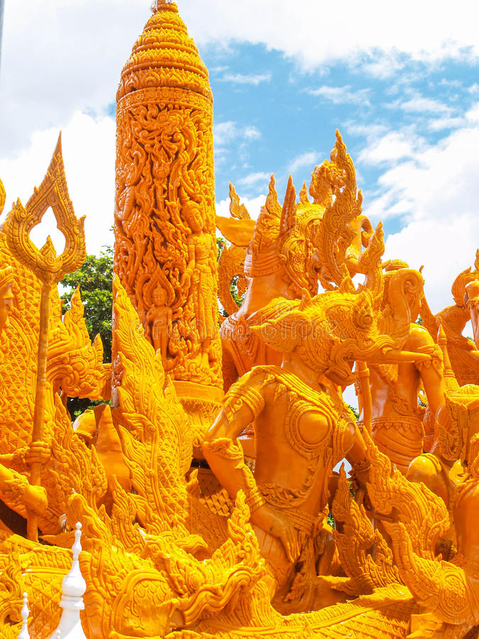 Candle Festival Ubon Thailand. UBON RATCHATHANI, THAILAND - July 12: The Candle are carved out of wax, Thai art form of wax(Ubon Candle Festival 2014) on July 12 royalty free stock photos