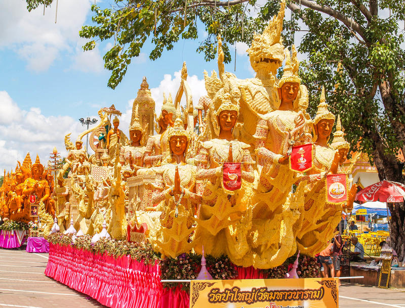 Candle Festival Ubon Thailand. UBON RATCHATHANI, THAILAND - July 12: The Candle are carved out of wax, Thai art form of wax(Ubon Candle Festival 2014) on July 12 stock photos