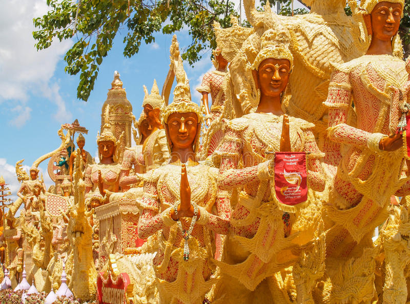 Candle Festival Ubon Thailand. UBON RATCHATHANI, THAILAND - July 12: The Candle are carved out of wax, Thai art form of wax(Ubon Candle Festival 2014) on July 12 stock photography