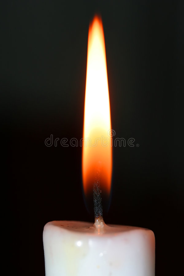 Candle Flame. A simple close up photo of a candle flame from a white candle, showing the detail in the wick royalty free stock photo