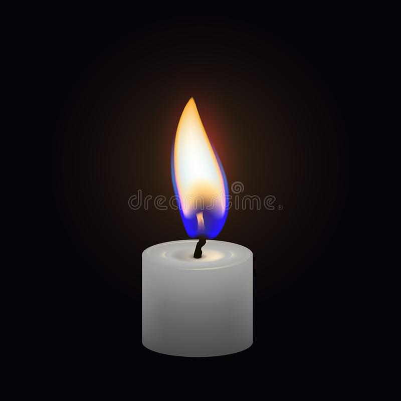Candle flame close up isolated on a dark background. Realistic vector vector illustration