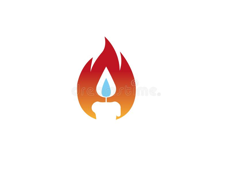 Candle in a flame of fire for logo design illustration royalty free illustration