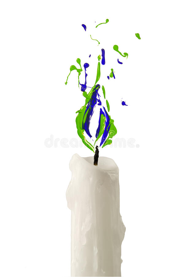 Candle flame made of green blue paint. Candle with flame made of green blue paint stock illustration
