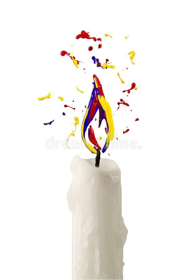 Candle flame made of yellow red blue paint. Candle with flame made of yellow red blue paint vector illustration